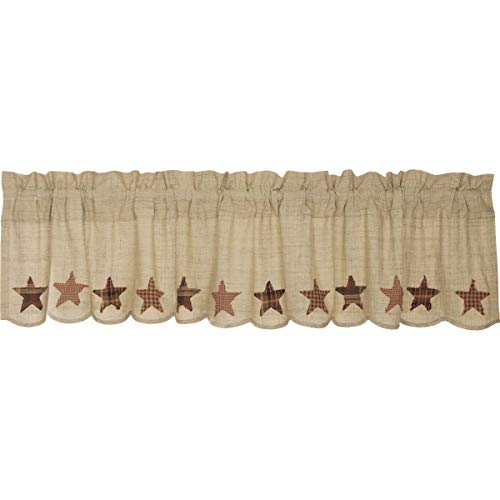 VHC Brands Abilene Star Valance 16x72 Country Curtain, Tan