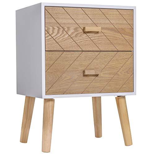 HOMCOM Chevet Table de Nuit Design scandinave 40L x 30l x 56H cm 2 tiroirs Bois Massif pin MDF Blanc et hêtre Motif Graphique