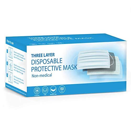 50 Stück Gesichtsmasken Einweg-Masken für Erwachsene, Einweg-Schutz, atmungsaktive Gesichtsbedeckungen, Motorrad, Gesichtsmasken, atmungsaktiv, Anti-Dunst, Familien-Abdeckung, Sturmhaube, Bandanas