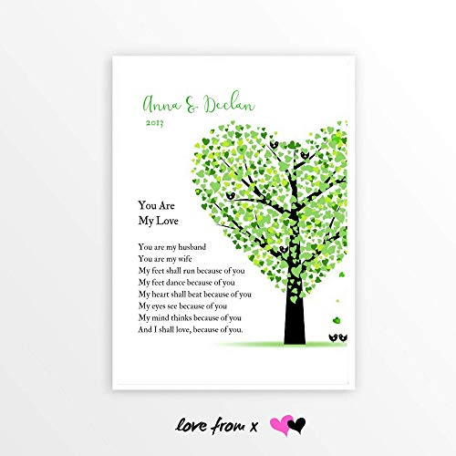 Spring Wedding Tree Gift | Personalized Wedding Day Poem Print | 5th Anniversary | I Shall Love Because Of You | WED1_5
