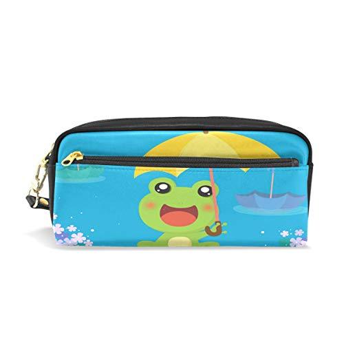 imobaby Frosch mit Regenschirm, tragbare Tasche aus PU-Leder für Schule, Stifteetui, Stifteetui, für Kinder, wasserdicht, Kosmetiktasche, Make-up, Beauty Case