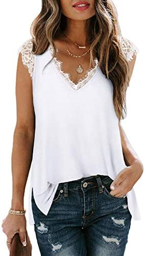 Women s Sexy V Neck Tank Tops Loose Fit Cute Lace Trim Side Split White L product image