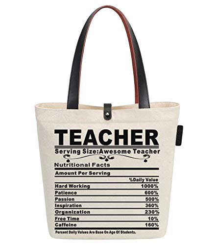 Soeach - Bolsa de Tela y Playa para Profesor, 38 cm, 10 L, Color Beige