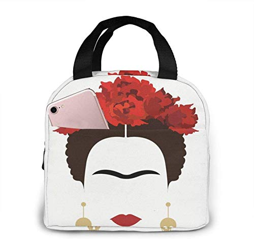 Mexican Woman With Skull Earrings Portable insulated Lunch Bag Tote Cooler Bento Bags With Front Pocket For Woman Man Work Life Travel Gifts