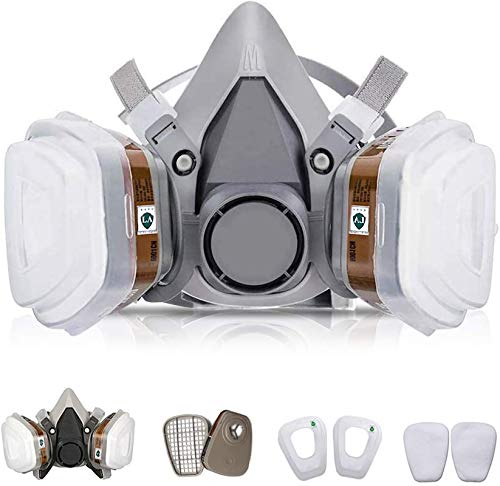 7 in 1 Half Reusable Face Respirator for 6200 Gas Painting Spray Protector Face Respirator Set for Painting, Machine Polishing, Welding, Coal Mine Working,Chemical, Woodworking