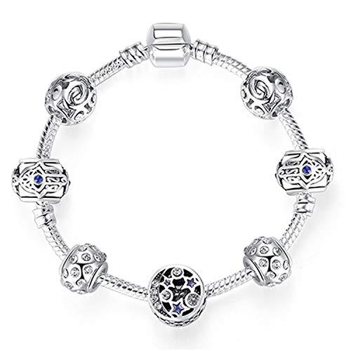 Women Bracelet Silver Crystal Bead Bracelet Summer Jewelry Bracelets Gift PS3860 17cm
