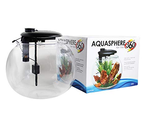 Penn-Plax AquaSphere 360 Large Bowl-Shaped Aquarium for Freshwater and Saltwater Setups – Fully Integrated Filtration System and LED Light Display - Durable Polycarbonate – 14 Gallons
