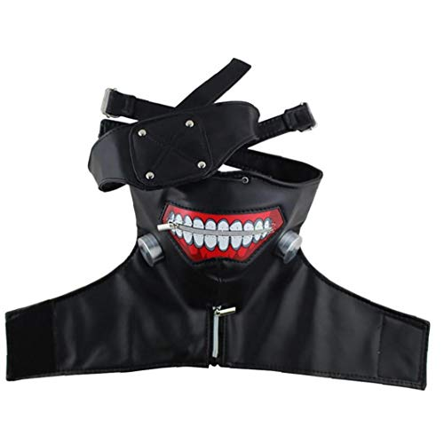 IUwnHceE 1set 3D Tokyo Ghoul Kaneki Ken Cosplay Maske Mit Augenklappe Kühler Partei-Masken-Halloween-kostüm-Partei-Dekorationen Requisiten Für Mann Und Frauen (schwarz)