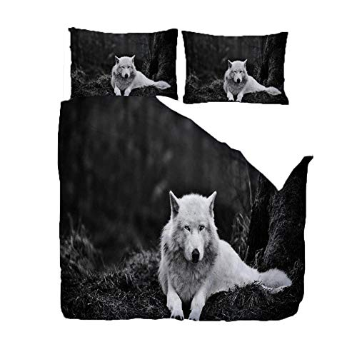Duvet Cover Set 3D Print 230X220Cm/90.5X86.5 Inches White Animal Wolf Ultra Soft Fashion Quilt Cover For Adult, Kids And Teens (1 Duvet Cover + 2 Pillowcases)