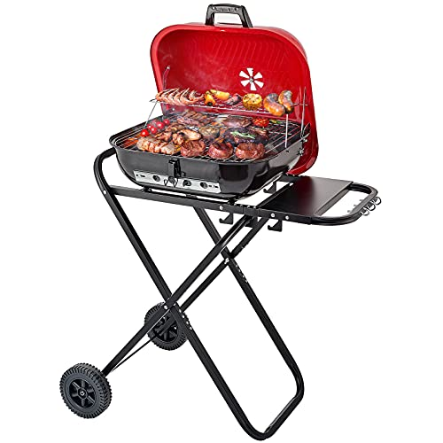 CUSIMAX Charcoal Grill Portable Grill Folding Barbecue Grill Outdoor Cooking Grills and Smokers for BBQ Camping Patio Picnic Backyard, 18.5 Inch, Black