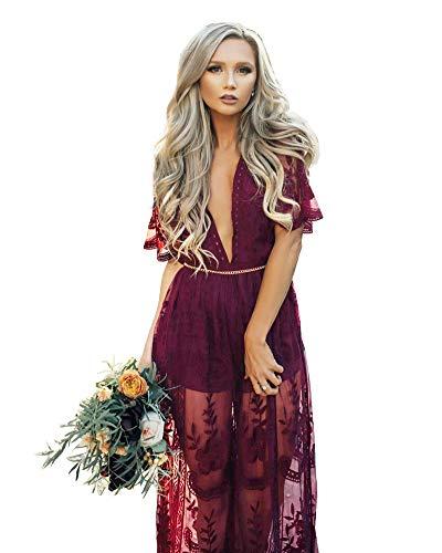 Eleter Women's Deep V-Neck Lace Romper Short Sleeve Long Dress (L,Wine Red)