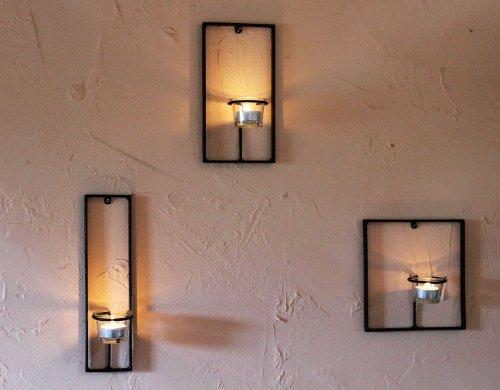 DanDiBo Wandteelichthalter aus Metall Carre 3-TLG. Wandkerzenhalter Teelichthalter für die Wand Schwarz Teelicht Design Modern