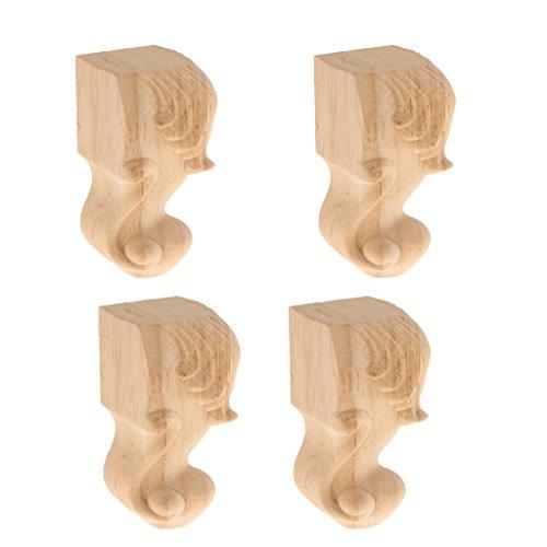 4 pcs Holz Möbel Füße vintage Schrankfüße für Sofa, Couch, Stuhl, Bett, Schrank
