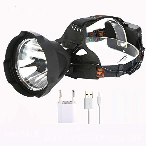Linterna frontal LED de 35000 lúmenes, recargable, USB, T6, LED, faro frontal, más potente, resistente al agua, para exteriores