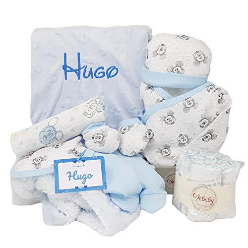 Baby Disney de Mababy - Set de Regalos Bebé Personalizada - Canastilla con el nombre del Recién Nacido (Azul)