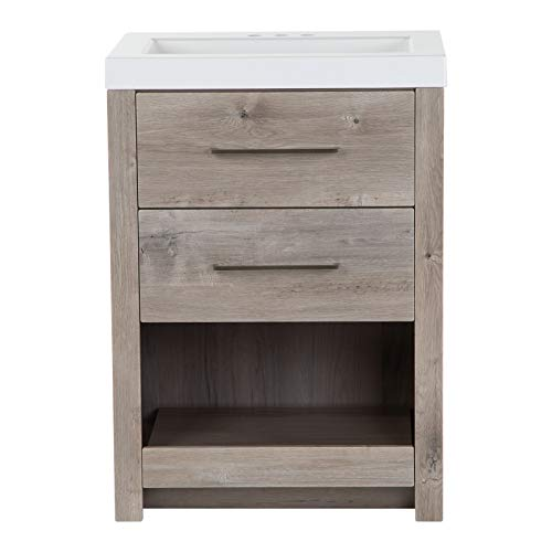 """Spring Mill Cabinets Fisk 24.5"""" 2-Drawer Transitional Bathroom Vanity in Light Woodgrain Finish with Full Extension Drawers, Pull-Out Shelf, Integrated White Sink Top for Full or Half Bath"""