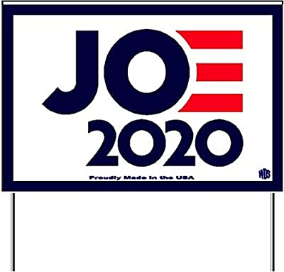 """WDS Biden 2020 Yard Sign - 'Vote Joe' Signs Include Metal Stake - Proudly Made in The USA - Double-Sided Waterproof Glossy 12""""x18"""" - Show Your Democratic Presidential Support - Say No to Trump!"""