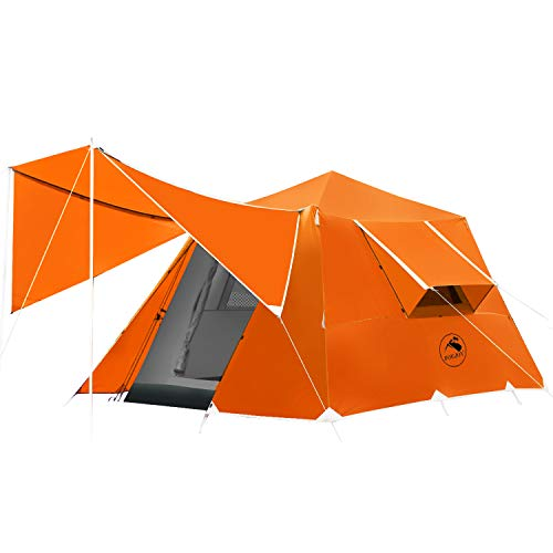 4 or 6 Person Camping Tent Windproof Family Dome Tent with Screen Room Easy Set Up for Backpacking Hiking Mountaineering (4P-Orange)