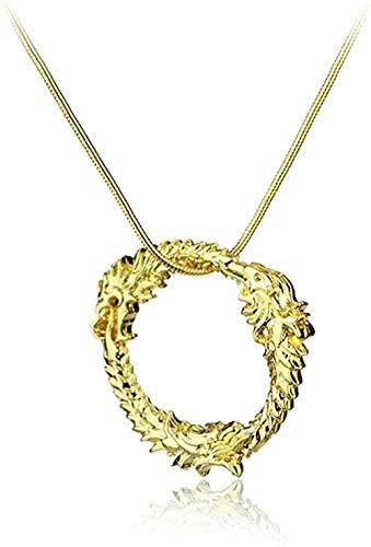 ZGYFJCH Co.,ltd Collar Mujer Collar 2021 Oro Plata Color Dragón Colgante Collar de Cadena Encanto Serie de Juegos Vintage Collares Accesorios de joyería