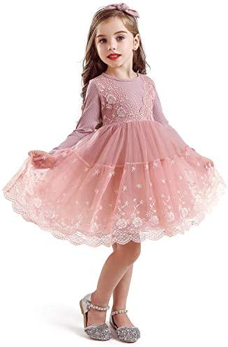 TTYAOVO Girls Knit Longsleeve Lace Flower Tulle Layered Princess Party Dresses Size 5 6 Years product image