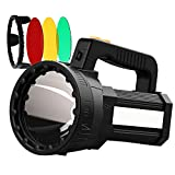 HMAN Spotlight Handheld 9600mAh LED Rechargeable Flashlight 55W Super Bright 6000 Lumens Flashlight, IPX4 Waterproof Boat Spotlight, Removable Three-color lens Flashlight for Hunting
