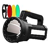 HMAN Spotlight Handheld 9600mAh LED Rechargeable Flashlight 55W Super Bright 6000 Lumens Flashlight, IPX4 Waterproof Boat Spotlight, Removable Three-color lens Flashlight for Hunting