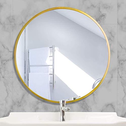 AUFHELLEN Rund Spiegel mit Metallrahmen HD Wandspiegel aus Glas 40cm für Badzimmer, Ankleidezimmer oder Wohnzimmer Schminkspiegel (Gold wie Bild, 40cm)