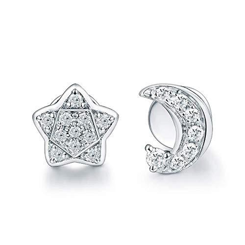 ketting Natuurlijke Diamanten Oorbellen Stud 18ct Effen Goud Verloving Bruiloft voor Vrouwen, Stijl Naam: maan+ster