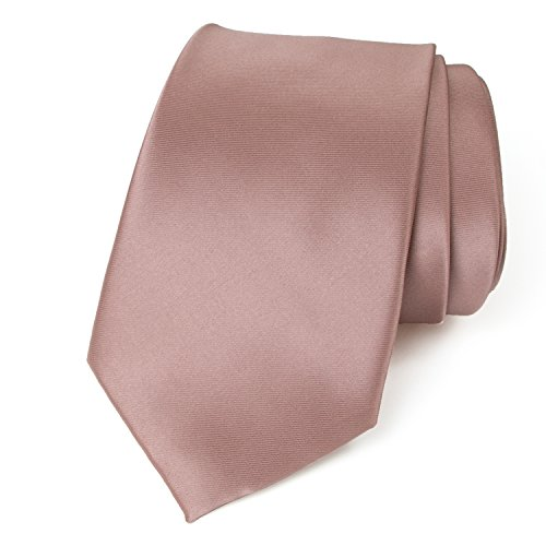 Spring Notion Men's Solid Color Satin Microfiber Tie, Regular Pink Copper
