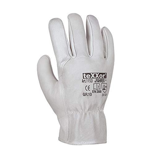 (12 Paar) teXXor Handschuhe TOP Rindnappaleder-Handschuhe Fahrer 12 x Natur 10