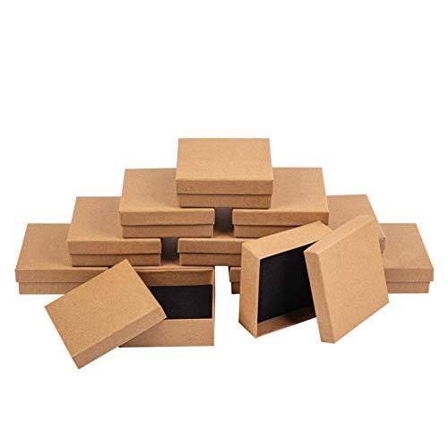 NBEADS Box 12 Stück 9 cm Quadratische Burlywood Papp-Perlen-Papier-Box Für Schmuck Armband Halskette Basteln Geburtstag Weihnachten Festival Geschenk Armreif Display und Aufbewahrung