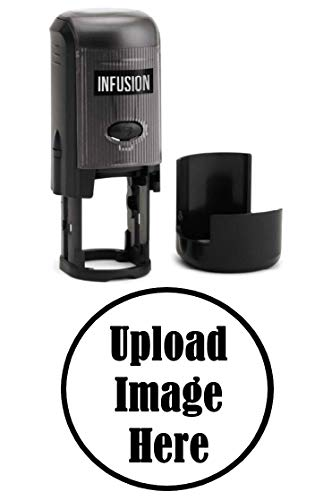 Infusion Custom Logo Round Self-Inking Rubber Stamp (3/4' Diameter), Black