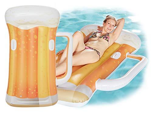 Gartenpirat Schwimmliege Bierkrug 177x112 cm spaßiger Schwimmsitz aufblasbar für Bier-Fans am Pool