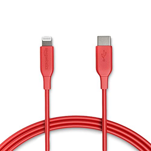 Amazon Basics Câble USB-C vers Lightning, chargeur certifié MFi pour iPhone 11 Pro/11 Pro Max - rouge, 1,82 m