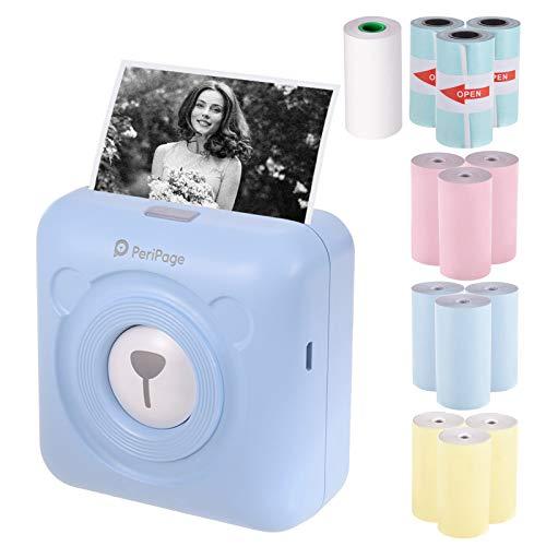Aibecy PeriPage Mini Handydrucker Fotodrucker BT Thermodrucker Bildetikett Memo Drucker + 9 Rollen Farb Thermopapier + 3 Rollen Selbstklebendes Aufkleberpapier 57 * 30mm(blau)