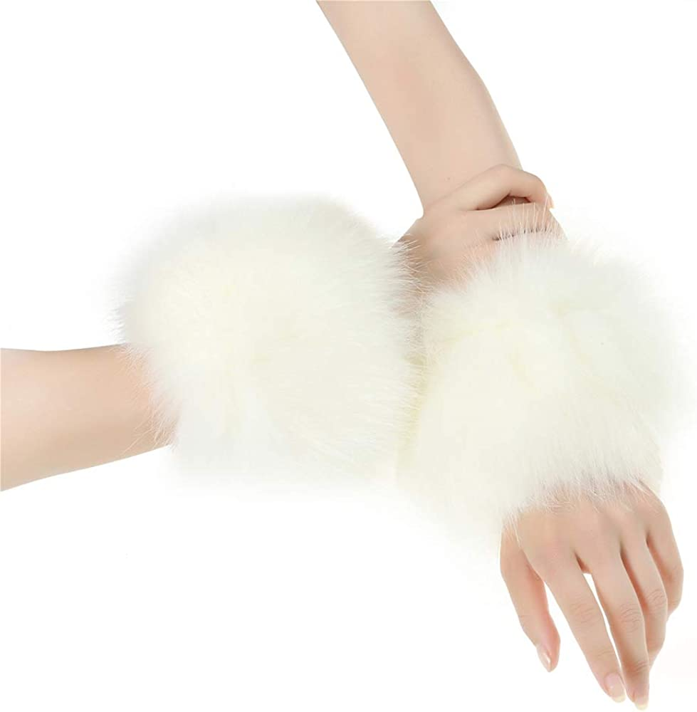 2 Piece Faux Fur Headband Arm Warmers Wrist Cuffs Earmuffs Ear Warmer Costumes