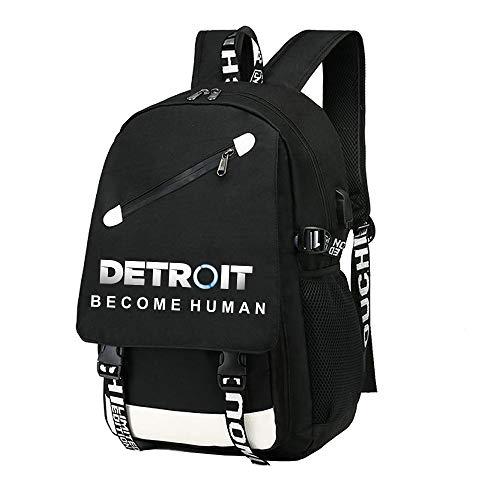 Detroit Become Human Valigeria Versione coreana dello zaino di colore solido dello zaino semplice dell'alpinista della borsa dello studente universitario unisex