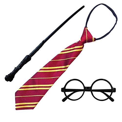 Disfraz de Mago Escolar,Gafas Negro de Marco,Varita mágica y Corbata para Adultos y Niños (Gafas Mago Pack Completo 3)