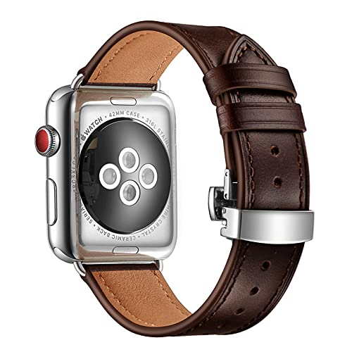 Correa de Reloj para Apple Watch SE Series 6/5/4/3/2/1, Correa de Cuero Compatible con iWatch 44/40/42/38 mm, Repuesto de Correa Reloj para Hombre y Mujer,Coffee,42/44mm