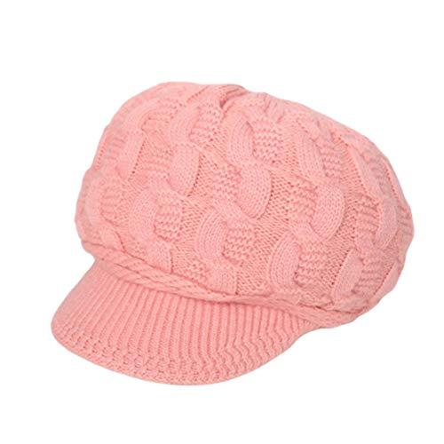 HIOD Sombrero de Mujer Gorros de Punto de Invierno Gorro de Piel Sintética de Color Sólido Suave y Cálido,Pink