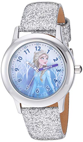 DISNEY Girls' Frozen 2 Stainless Steel Analog Quartz Watch with Patent Leather Strap, White, 15 (Model: WDS000798)