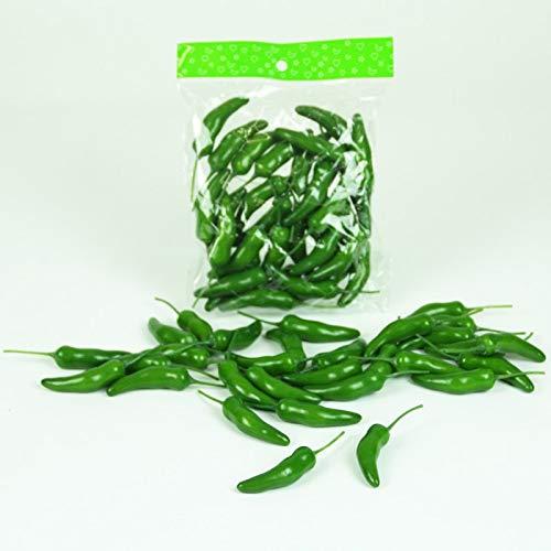 Künstliche CHILISCHOTEN 6 cm. 30 Stück. Chili, Paprika, Gemüse, Peperoni. GRÜN. 32015 07