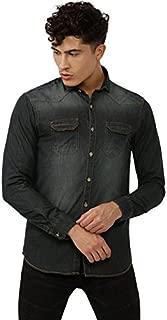Campus Sutra Men's Solid Regular Fit Casual Shirt (AZ18SHRT_DSHIRT1_M_PLN_DNCH_AZ_DNCH_L)