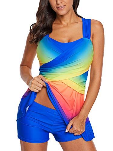 Minetom Regenbogen Damen Übergröße Bikinis Tankini Swim Kleid Badeanzug Beachwear gepolsterte Bademode Frauen Plus Size Beachwear Badeanzüge Bikini Set Blau DE 44