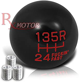 Rxmotor Fing Fast Shift Knob for 6 Speed Short Throw Shifter (Reverse on Top) + M8x1.25, M10x1.5, M12x1.25 Adapter Thread (BLACK-RED)