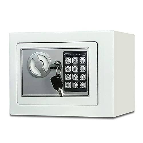 FDYZS Pequeño Valor Seguro Contraseña de Acero Inicio Mini Safe Coin Caja de 8 litros Capacidad para el hogar, Oficina, Banco, Supermercado,Plata