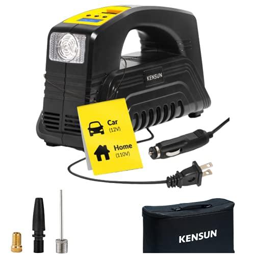 Kensun AC/DC Digital Tire Inflator for Car 12V DC and Home 110V AC Rapid Performance Portable...