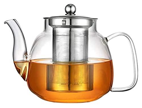 Peakfeng Tetera Tetera 700ml 1000ml Tetera de Vidrio Resistente al Calor Resistente al Calor Hervir Agua Té Infusor con colador Copa de Cuello de Cuello Taza de té (Size : 1000ML)