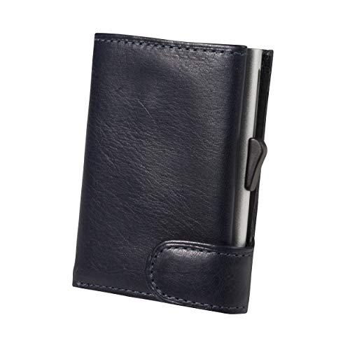 Aluminium Kartenetui FURBO black, RFID-Schutz, mit Schein- und Münzfach, Tony Perotti