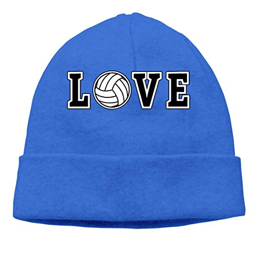XCNGG Strickmütze Wollmütze Mens and Womens Love Spelled with Volleyball Knitting Hat, Wool Skull Cap